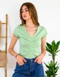 Lipsy γυναικεία μέντα μπλούζα με πιέτα 1210039A