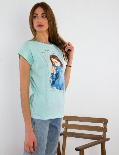 Γυναικείο βεραμάν βαμβακερό Tshirt με τύπωμα 210423C