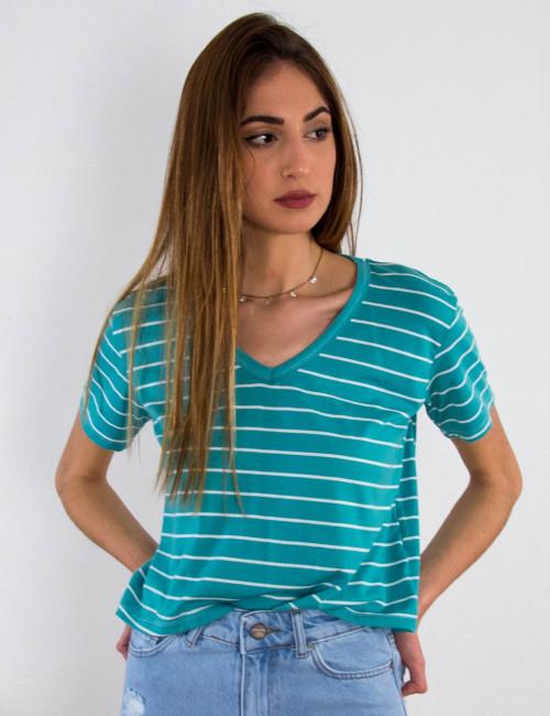 Γυναικεία πετρόλ ριγέ κοντομάνικη μπλούζα V 20213678T