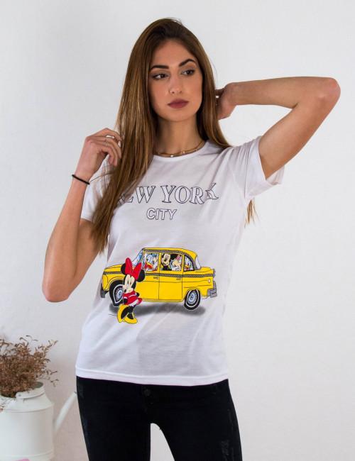 Γυναικείο λευκό βαμβακερό Tshirt με τύπωμα 210429B