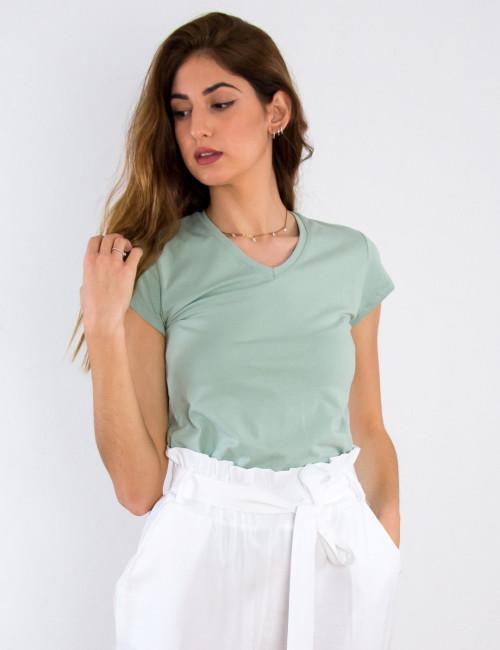 Γυναικείο φυστικί κοντομάνικο μπλουζάκι 78550T