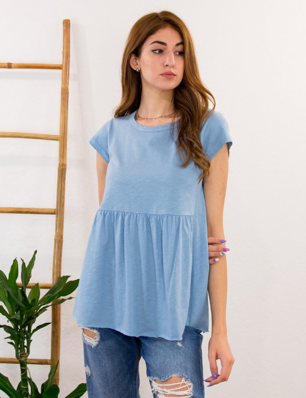 Lipsy γυναικεία γαλάζια κοντομάνικη μπλούζα με βολάν 1210059A
