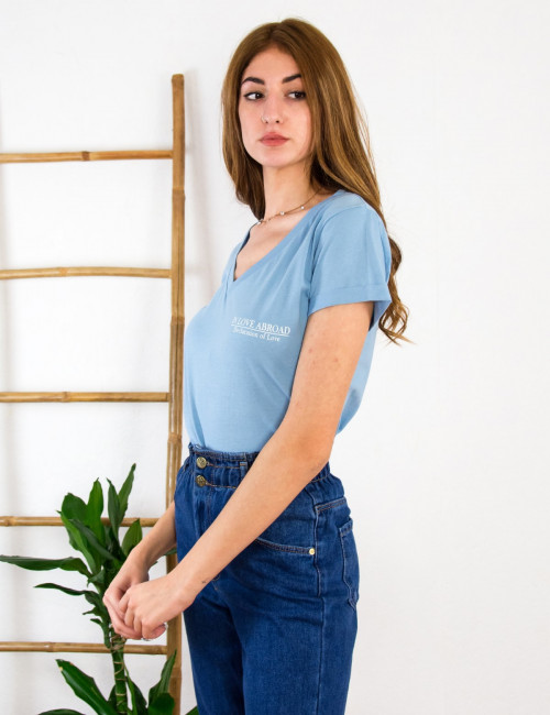 Lipsy γυναικεία baby blue μπλούζα με τύπωμα 1210065C