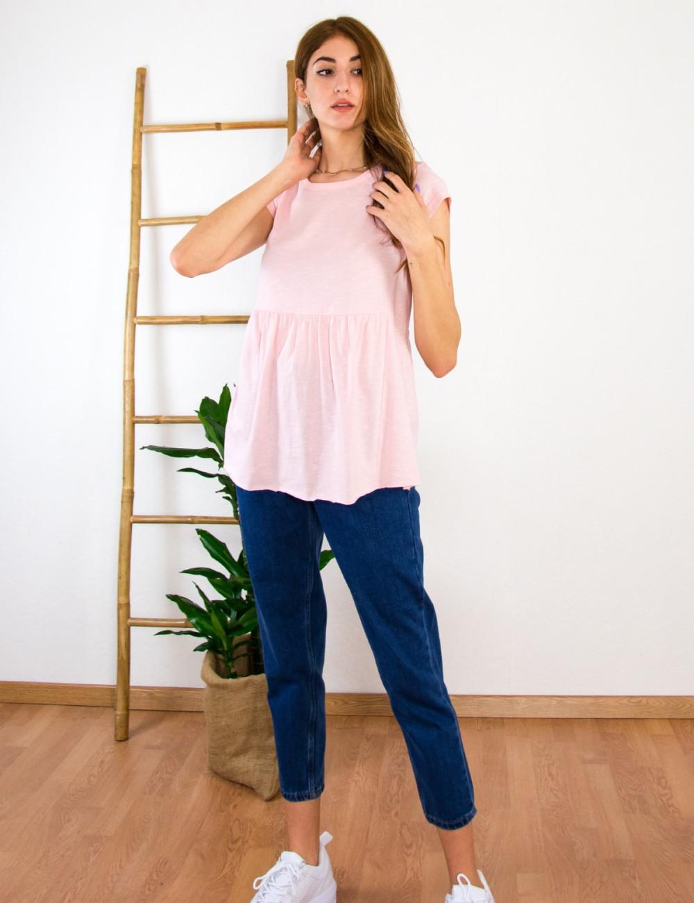 Lipsy γυναικεία ρόζ κοντομάνικη μπλούζα με βολάν 1210059