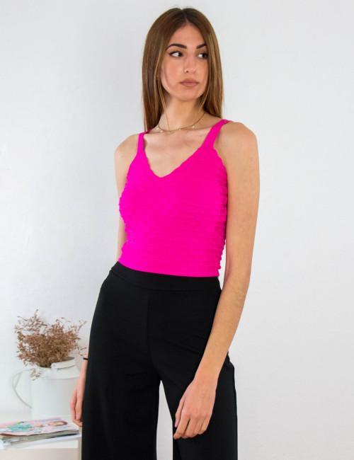 Γυναικείο φούξια αμάνικο τοπάκι 78339F