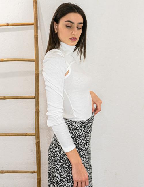 Γυναικείο λευκό σετ ριπ μπολερό και τοπ ραντάκι 1340221G