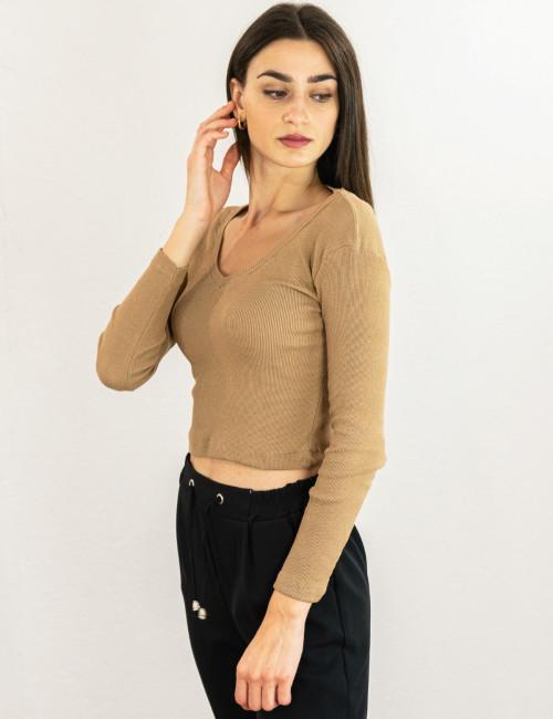 Γυναικείο μπεζ ελαστικό μακρυμάνικο ριπ τοπ με V 1047221W