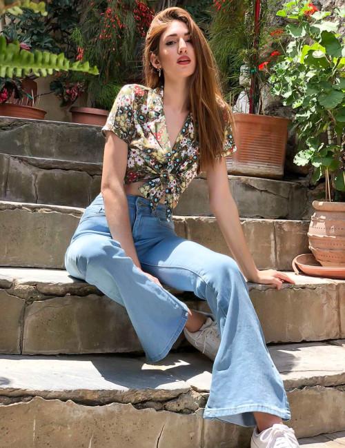 Lipsy γυναικείο καφέ πουκάμισο με πέτο και δέσιμο 1210202Y