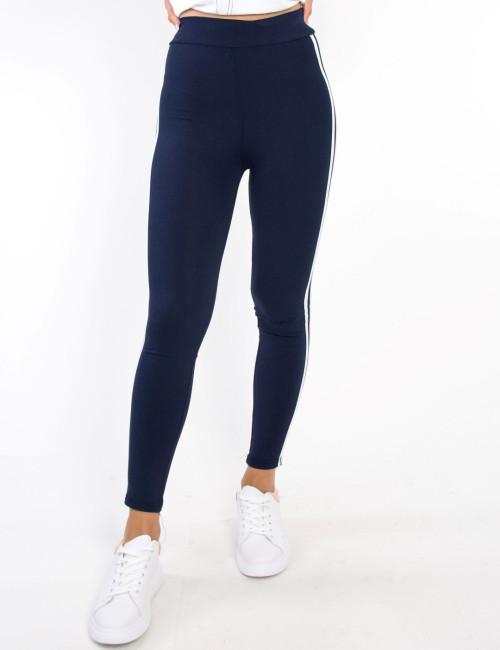 Γυναικείο μπλε αθλητικό κολάν λάστιχο λευκή ρίγα 032155B
