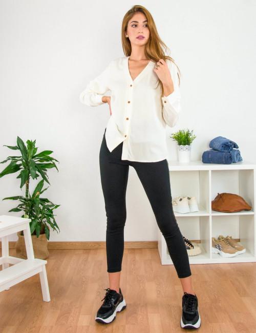 Benissimo γυναικείο μαύρο υφασμάτινο παντελόνι κολάν 41606