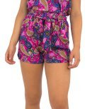 Γυναικείο φούξια σορτς υφασμάτινο μοτίβο λαχούρια 52547R