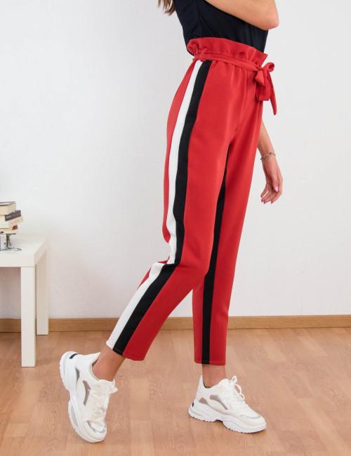 Γυναικείο εκάι υφασμάτινο παντελόνι με διπλές ρίγες 8309176F
