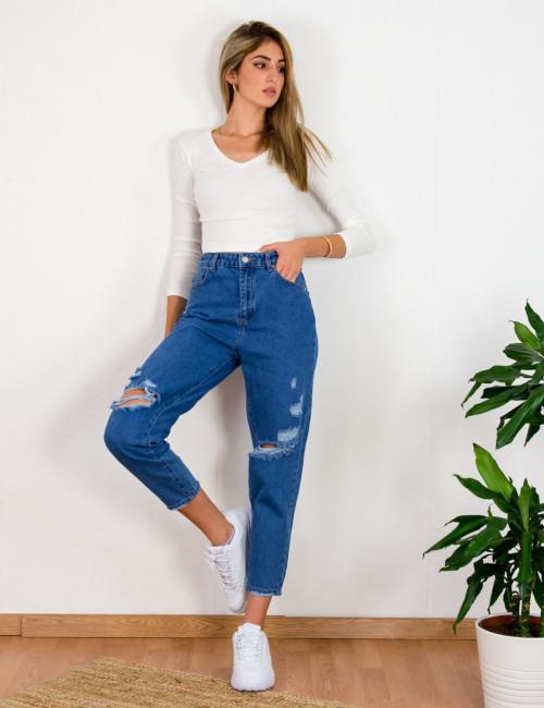 Γυναικείο μπλε ανοιχτό τζιν παντελόνι Boyfriend σκισίματα LY5616