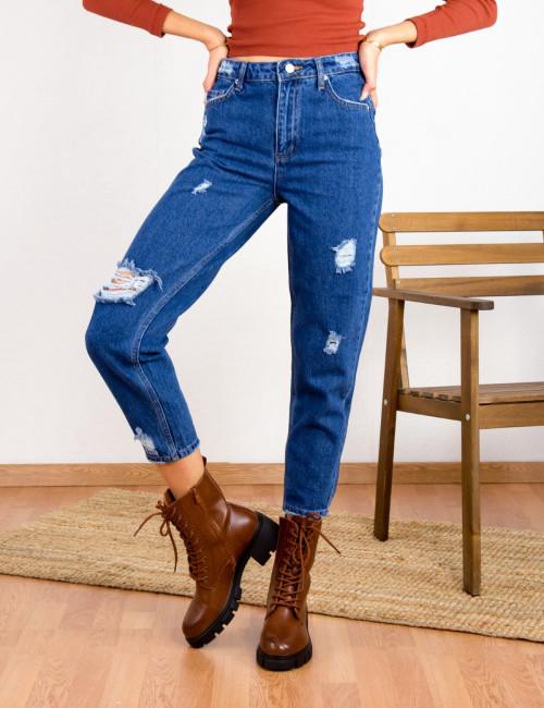 Γυναικείο μπλε τζιν παντελόνι Boyfriend LY5600