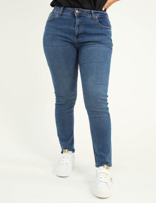 Γυναικείο μπλε ελαστικό τζιν παντελόνι σωλήνας Plus Size 5606
