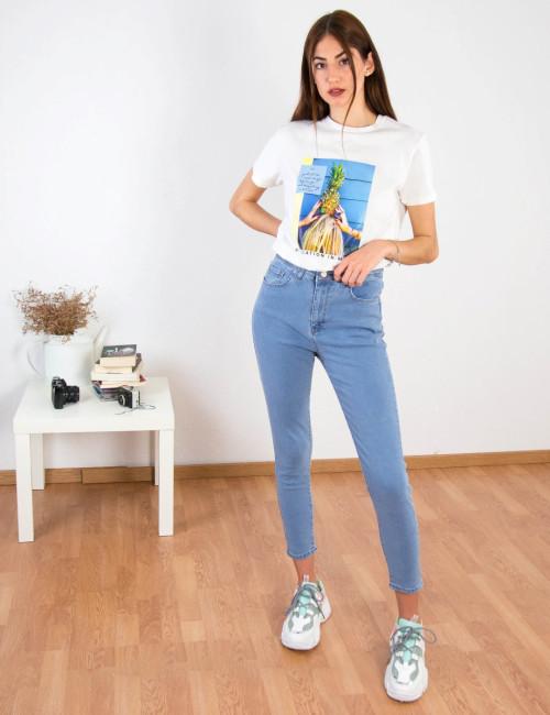 Γυναικεό χλώριο τζιν παντελόνι Plus Size RW568873