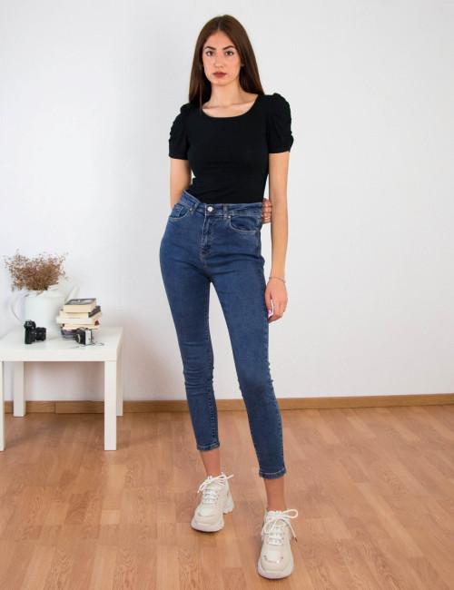 Γυναικείο μπλε ψηλόμεσο τζιν Plus Size RW568721