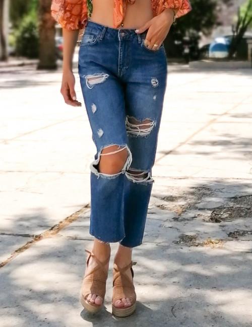 Γυναικείο μπλε τζιν παντελόνι ψηλόμεσο Straight Fit 5683