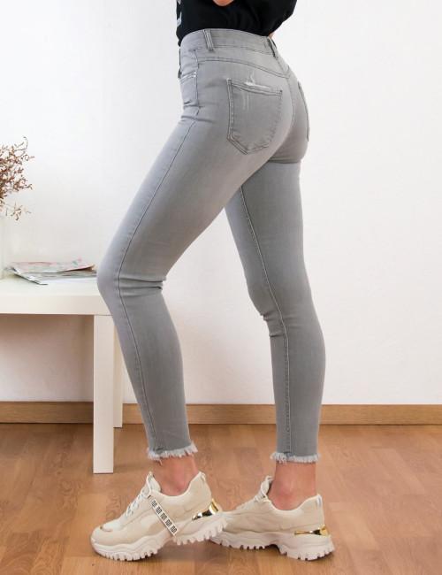 Γυναικείο γκρι τζιν παντελόνιμε ξέφτια LY0042A