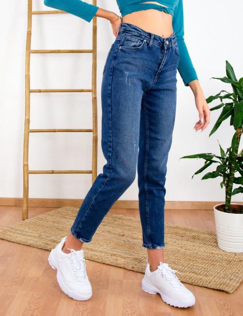 Γυναικείο μπλε τζιν παντελόνι με φθορές RW537946