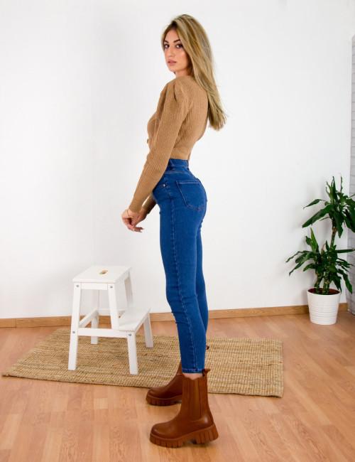 Γυναικείο μπλε τζιν παντελόνι σωλήνας RW510958