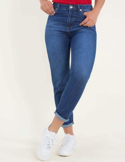 Γυναικείο μπλε τζιν παντελόνι Mom Fit ξεβάμματα 4222