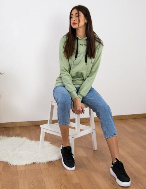 Γυναικείο χλώριο τζιν παντελόνι με φθορές Denim Plus Size K3152X