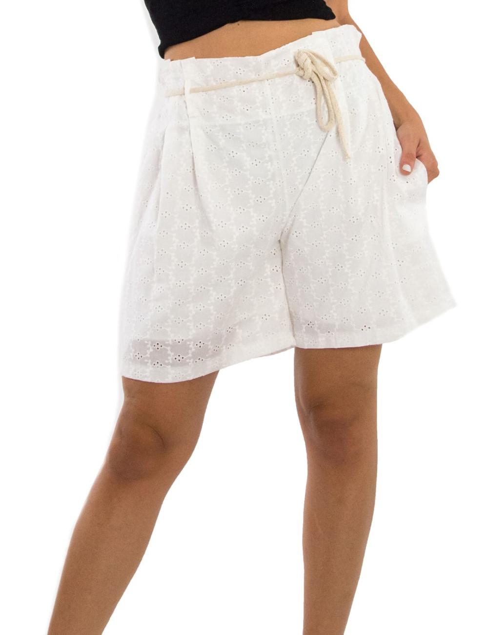 Γυναικείο λευκό υφασμάτινο σορτς με σχέδιο MARLEN 1177023
