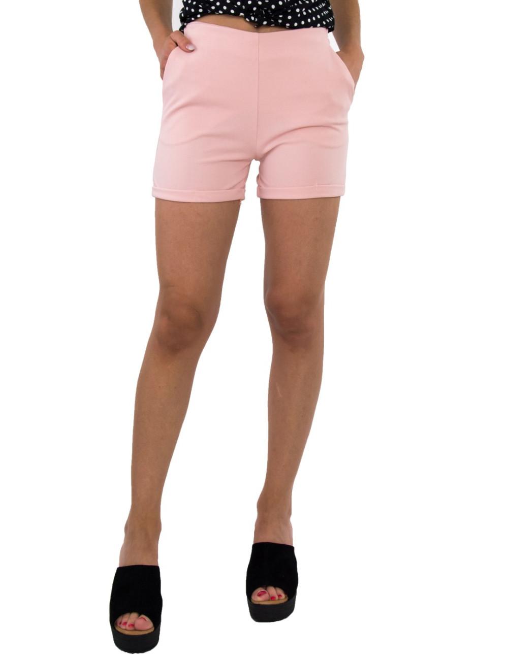 Γυναικείο ροζ υφασμάτινο σορτς με φερμουάρ 9177R