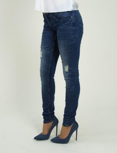 Γυναικείο μπλε τζιν παντελόνι ξεβάμματα UK272249
