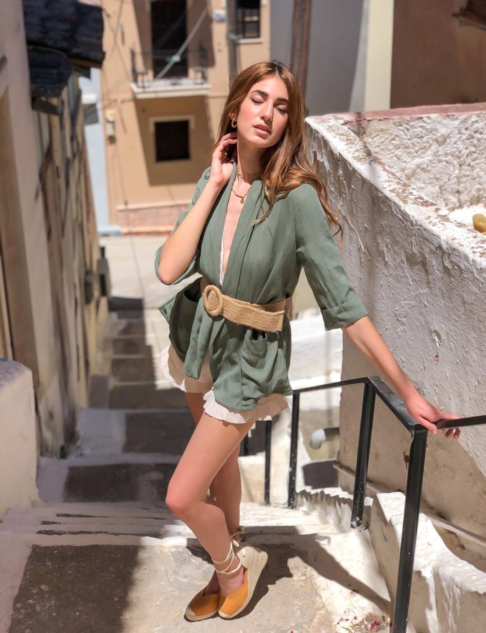 Γυναικείο χακί υφασμάτινο σακακι 786750B