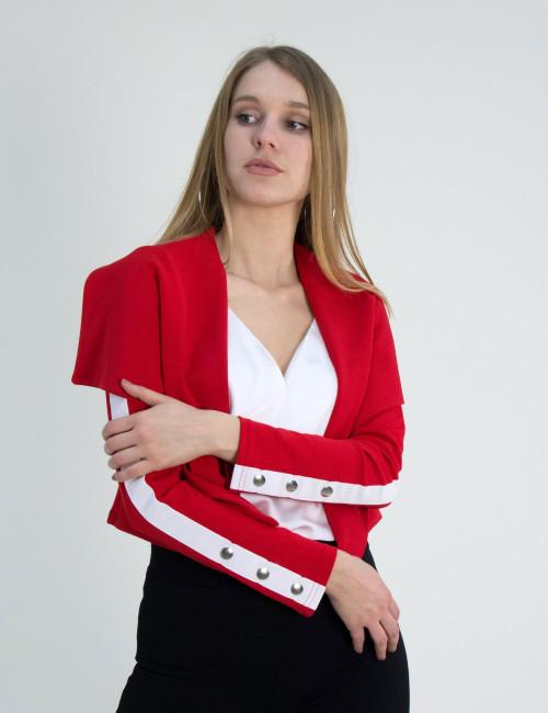 Γυναικείο κοντό σακάκι Cocktail κόκκινο λευκή ρίγα 014005006W