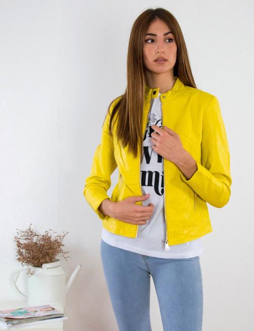 Γυναικείο κίτρινο Jacket δερματίνη με φερμουάρ AW332B