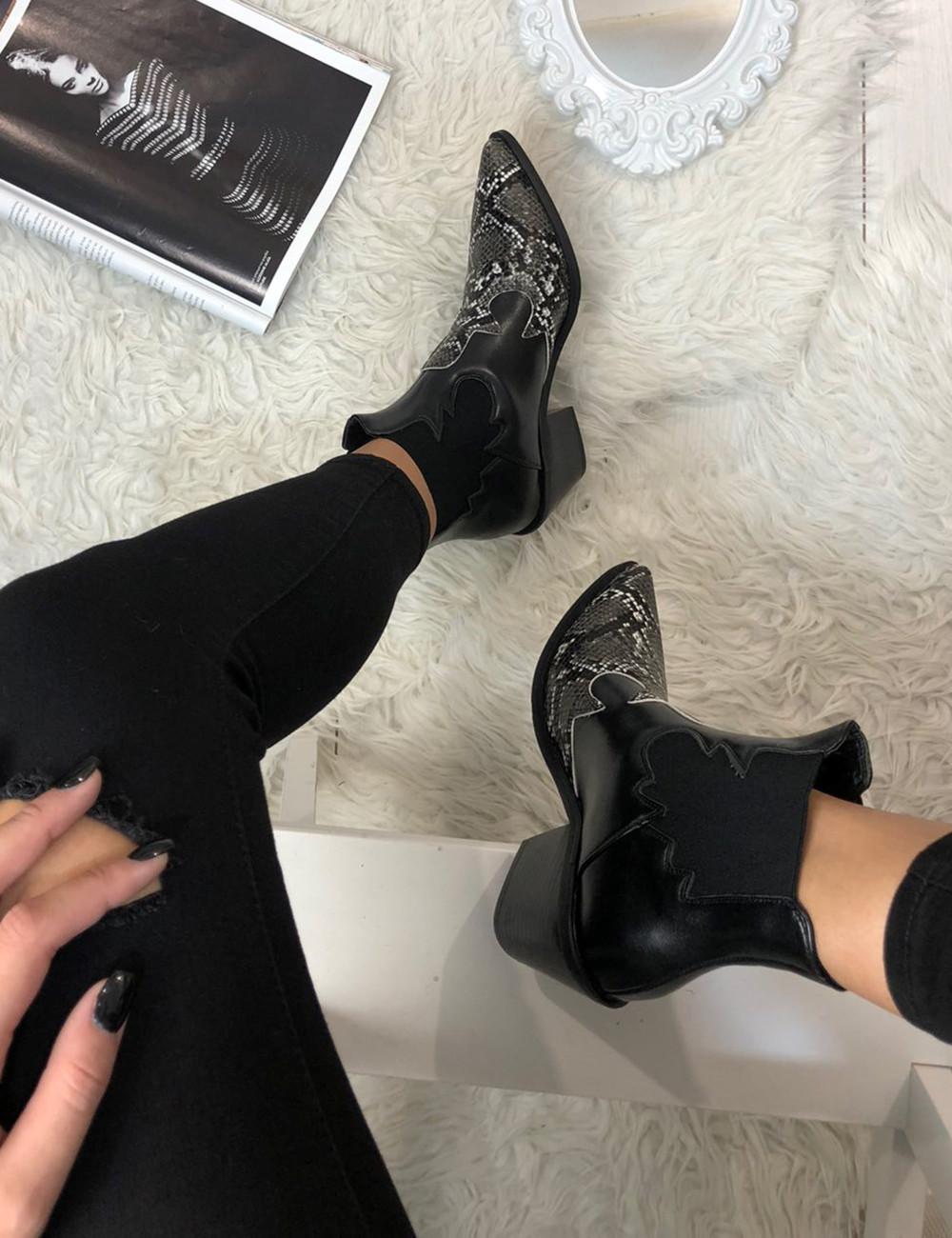 Γυναικεία μαύρα Cowboy μποτάκια αστραγάλου Snake Print C99